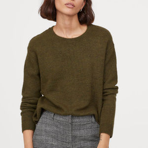 green fine knit sweater